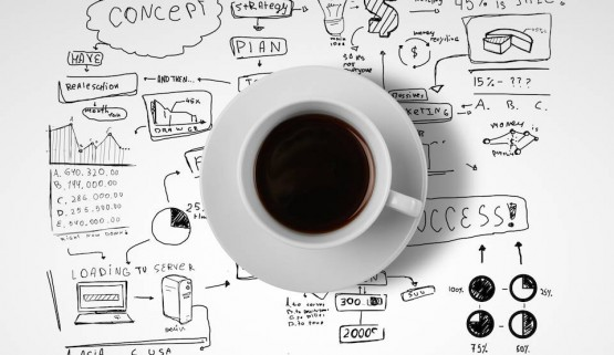BIGSTOCK PHOTO: Business And Coffee coffee cup and business strategy on a white background by g_peshkova, Stock Photo 52924261